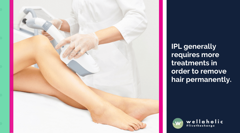 IPL generally requires more treatments in order to remove hair permanently.